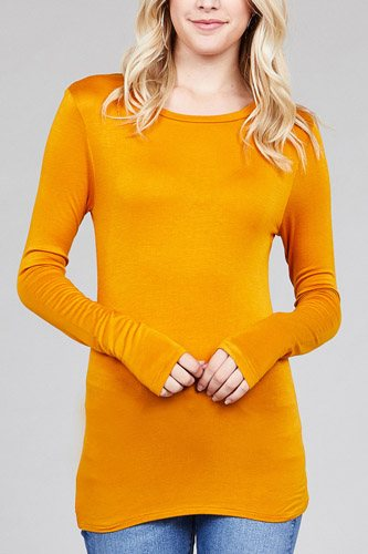 Ladies fashion long sleeve crew neck top rayon spandex jersey top-id.CC36126l