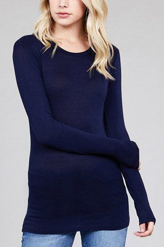 Ladies fashion long sleeve crew neck top rayon spandex jersey top-id.CC36126m