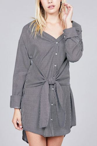 Ladies fashion long sleeve w/wide cuff waist self tie stripe shirt dress-id.CC36127
