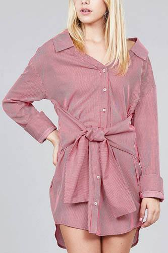 Ladies fashion long sleeve w/wide cuff waist self tie stripe shirt dress-id.CC36127a