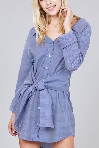 Ladies fashion long sleeve w/wide cuff waist self tie stripe shirt dress-id.CC36127b