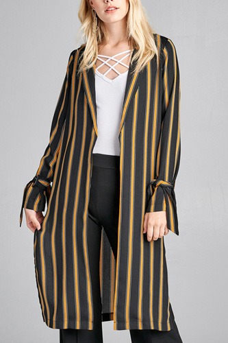 Ladies fashion long sleeve notched collar side slit multi stripe long jacket-id.CC36128