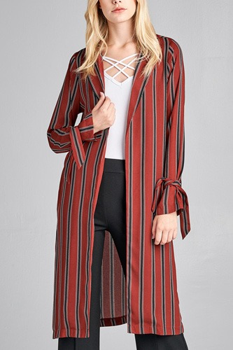 Ladies fashion long sleeve notched collar side slit multi stripe long jacket-id.CC36128a