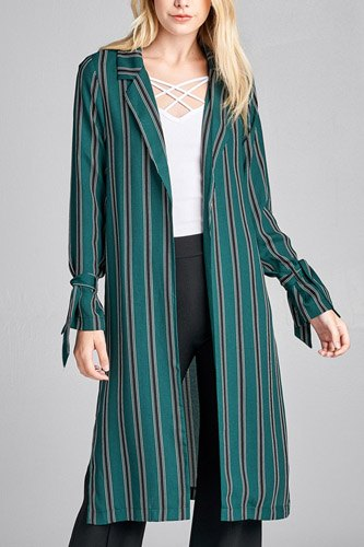 Ladies fashion long sleeve notched collar side slit multi stripe long jacket-id.CC36128b