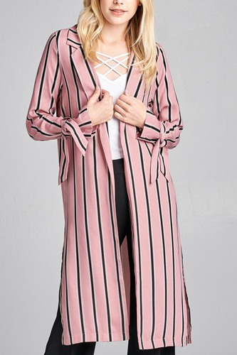 Ladies fashion long sleeve notched collar side slit multi stripe long jacket-id.CC36128c