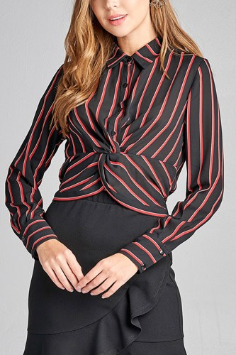 Ladies fashion long sleeve front button w/twisted detail stripe print woven shirt-id.CC36129