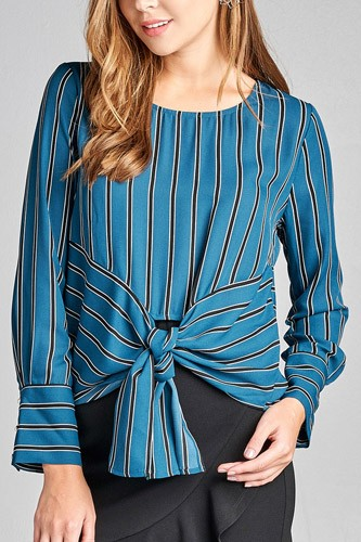 Ladies fashion long sleeve round neck front self tie multi stripe print woven top-id.CC36130