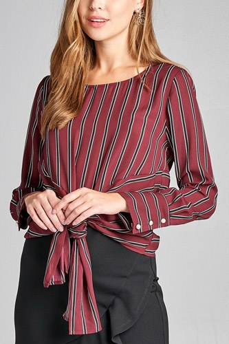 Ladies fashion long sleeve round neck front self tie multi stripe print woven top-id.CC36130b