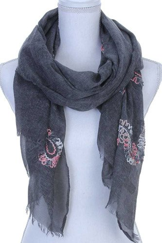 Sheer embroidered oblong scarf-id.CC36134