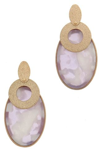 Actetate oval shape post drop earring-id.CC36168