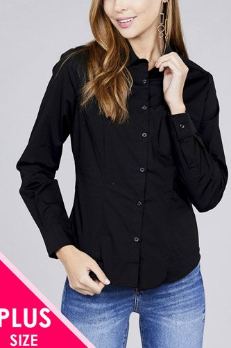 Ladies fashion plus size long sleeve button down stretch shirt-id.CC36191