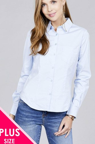 Ladies fashion plus size long sleeve button down stretch shirt-id.CC36191a