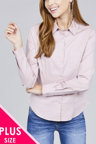 Ladies fashion plus size long sleeve button down stretch shirt-id.CC36191b