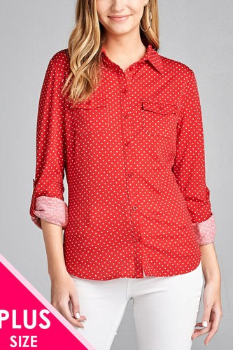 Ladies fashion plus size 3/4 roll up sleeve front pocket detail dot print stretch knit shirts-id.CC36194c