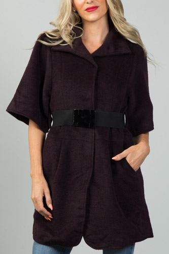 Ladies fashion wine fluffy belted 3/4 sleeves jacket-id.CC36207