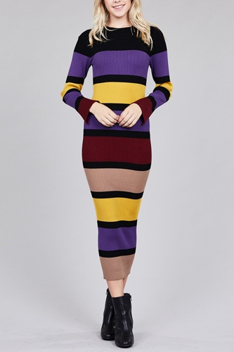 Ladies fashion long sleeve round neck color block long knit dress-id.CC36217a