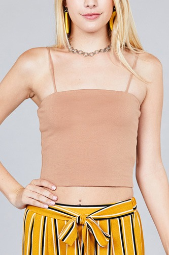 Ladies fashion straight neck crop double layer cami top-id.CC36218a
