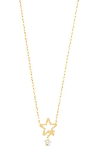 Dainty double star pendant necklace-id.CC36235