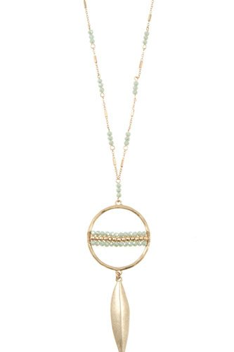 Elongated ring bead drop metal pendant necklace set-id.CC36239