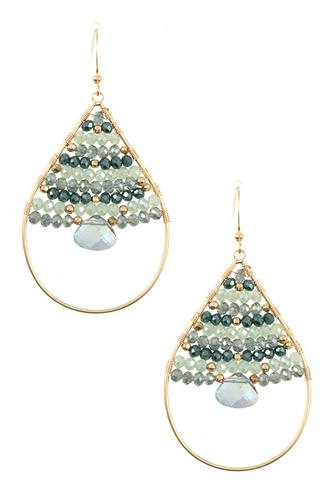 Wired bead gem accent teardrop dangle earring-id.CC36243