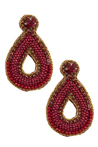 Mix jewel beaded teardrop earring-id.CC36245