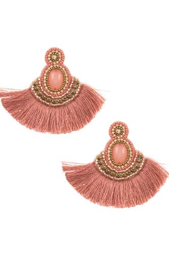 Tassel mix jewel stone dangle earring-id.CC36246