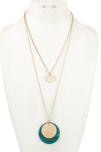 Double row acetate disk pendant necklace set-id.CC36261