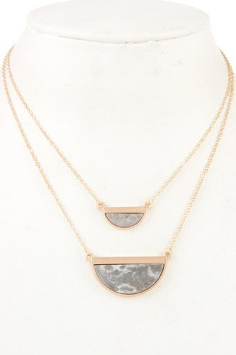 Half framed gemstone double row necklace-id.CC36262