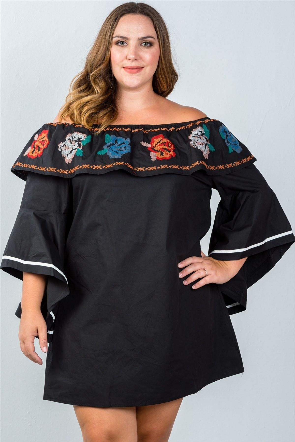 4cee2087c336b Ladies fashion plus size flounce off the shoulder dress-id.CC36271. Black