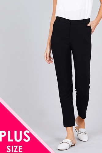 Ladies fashion plus size seam side pocket classic long pants-id.CC36281