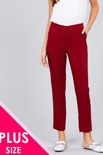 Ladies fashion plus size seam side pocket classic long pants-id.CC36281a