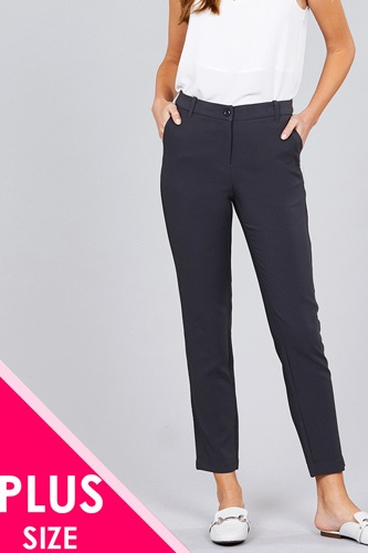 Ladies fashion plus size seam side pocket classic long pants-id.CC36281b