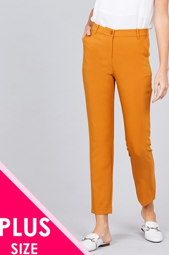 Ladies fashion plus size seam side pocket classic long pants-id.CC36281c