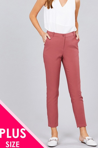 Ladies fashion plus size seam side pocket classic long pants-id.CC36281d