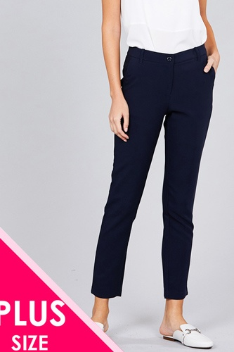 Ladies fashion plus size seam side pocket classic long pants-id.CC36281e