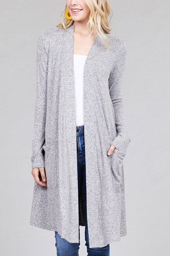 Ladies fashion long sleeve open front w/pocket brushed hacci cardigan-id.CC36284a