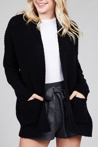 Ladies fashion dolmen sleeve open front surplice back construction sweater cardigan-id.CC36285