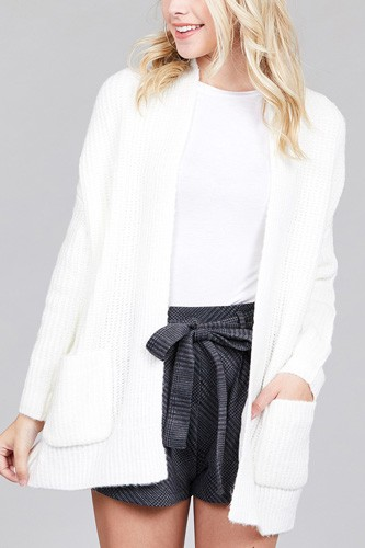 Ladies fashion dolmen sleeve open front surplice back construction sweater cardigan-id.CC36285c