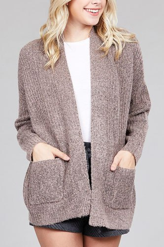 Ladies fashion dolmen sleeve open front surplice back construction sweater cardigan-id.CC36285d