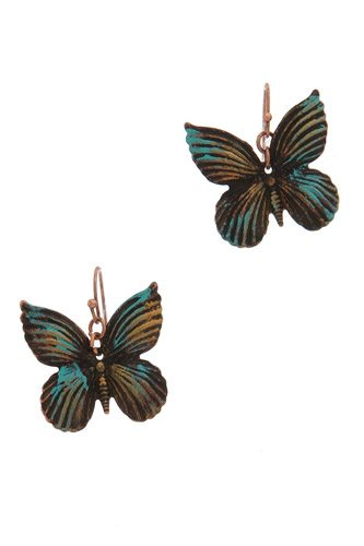 Textured butterfly drop earing-id.CC36324