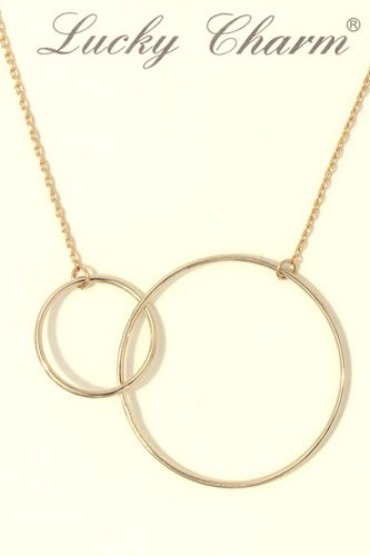 Cut out circle linked short necklace-id.CC36330