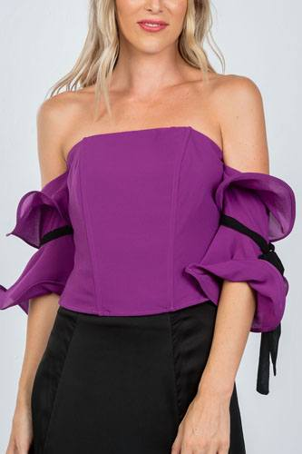 Ladies fashion purple wired ruffle off the shoulder top-id.CC36338