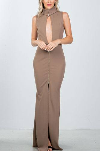 Ladies fashion zipper statement turtleneck maxi dress-id.CC36342a
