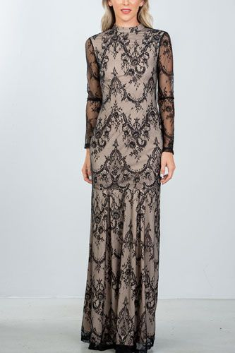 Ladies fashion black lace nude illusion open back maxi dress-id.CC36343