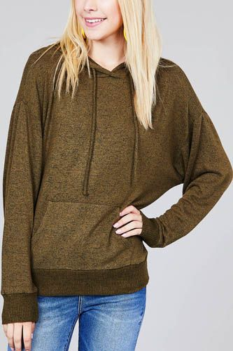 Ladies fashion long sleeve hoodie w/drawstring brushed hacci knit top-id.CC36347b