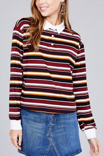 Ladies fashion long sleeve multi striped dty brushed shirts-id.CC36348