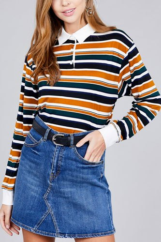 Ladies fashion long sleeve multi striped dty brushed shirts-id.CC36348a