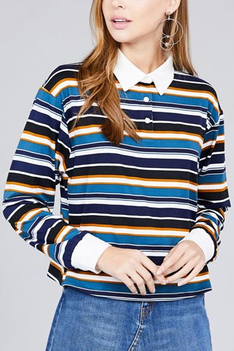 Ladies fashion long sleeve multi striped dty brushed shirts-id.CC36348b