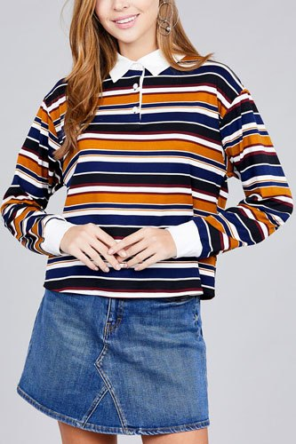 Ladies fashion long sleeve multi striped dty brushed shirts-id.CC36348c