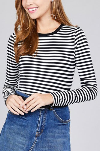 Ladies fashion long sleeve crew neck striped dty brushed top-id.CC36349